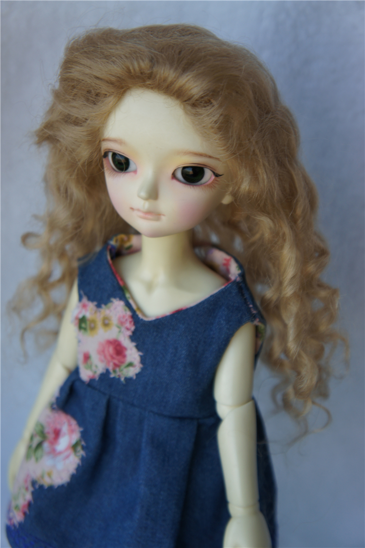 YOSD 1/6 mohair doll wig Long curly wig without bangs 6-7inch wigs suit for BJD dolls resin dolls