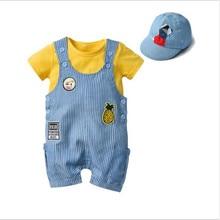 New childrens Bib pants infant jumpsuit boy baby romper embroidery striped bib hat three-piece summer clothes