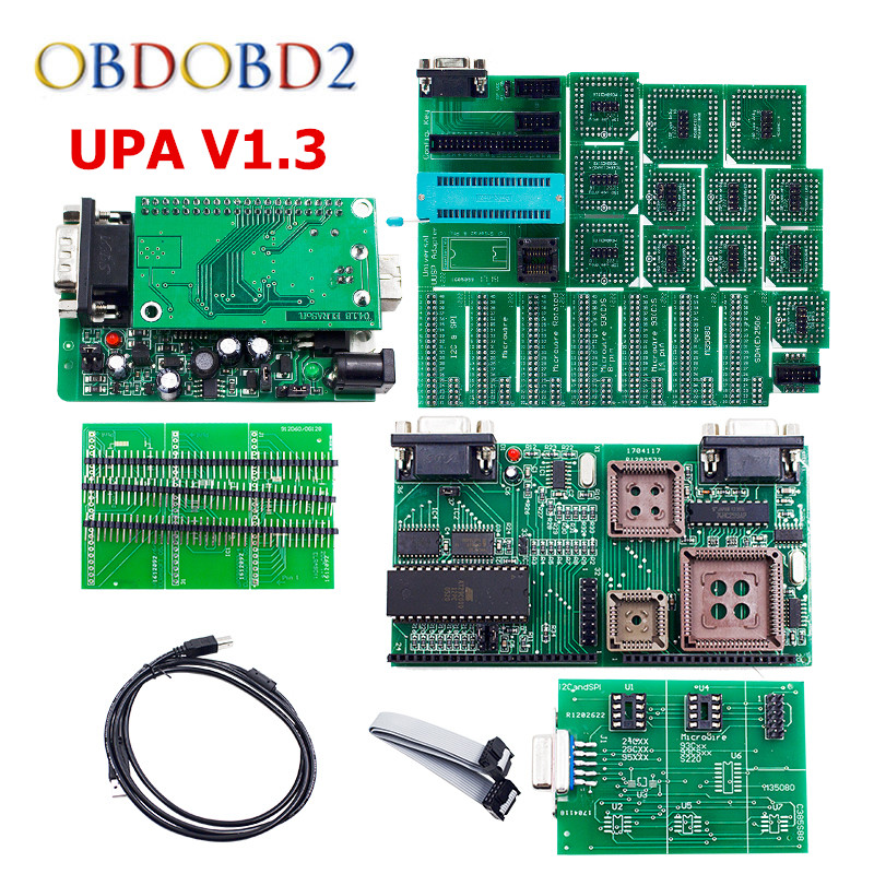 Best Quality Green PCB V1.3 UPA USB Serial Programmer Full Set UPA-USB 1.3 ECU Chip Tuning EEPROM Tool Free Shipping the best quality update version super upa usb programmer with full adapters hot selling