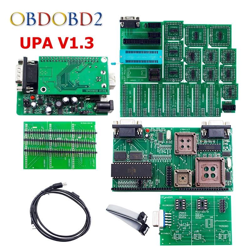 Best Quality Green PCB V1.3 UPA USB Serial Programmer Full Set UPA-USB 1.3 ECU Chip Tuning EEPROM Tool Free Shipping