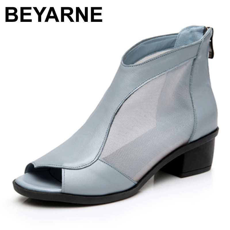 Beyarne summer middle aged woman fish mouth shoes leather for Womens fishing shoes