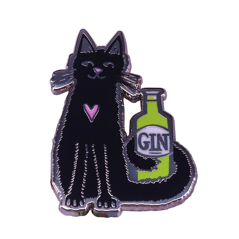 Cat and Gin enamel pin cocktail badge chic birthday gift for cat wine lovers image