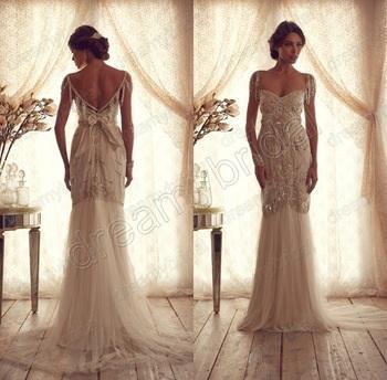 Free Shipping 2016 New Fashion Luxury Crystal Beaded Vestido De Noiva Casamento Elegant Sexy Backless Wedding Dress Bridal Gowns