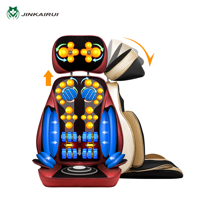 JinKaiRui 220V 6D Airbag Massage Chair Fulbody Back Waist Neck Cervical Multifunctional Vertebrate Massageador Cushion Spa