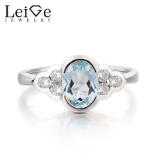 Leige Jewelry Natural Blue Aquamarine Ring Wedding Ring March Birthstone Oval Cut Gemstone Solid 925 Sterling Silver for Women