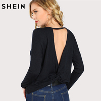 SHEIN 섹시한 여성 티셔츠 봄 2018 여성 의류 블랙 긴 소매 등이없는 여성 최고 트위스트 열기 V 위로 T