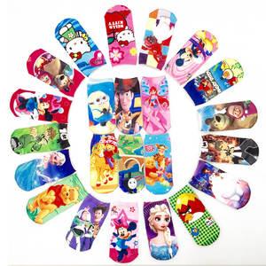 Kids Socks Boys Girls Cute Kitty Cartoon Sock Captain America Elsa Alice Princess Mesh 3D Print Children Sock Toys Winter