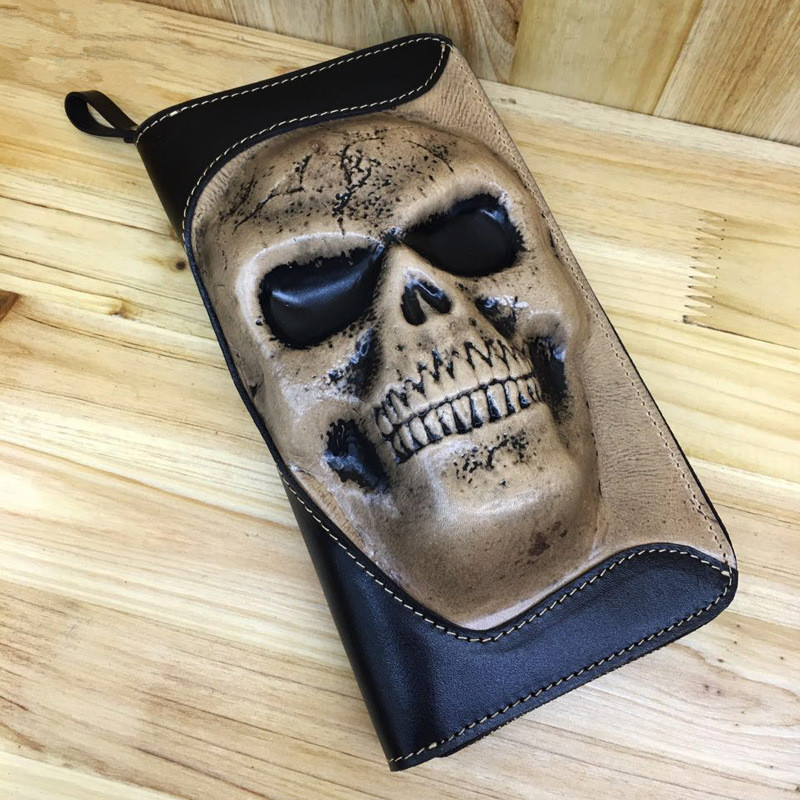 2018 Man 3D solid Skull Cow Leather Wallets Zipper Bag Purses Men Long Clutch Genuine Leather Black Card Holder Boy Friend Gifts simline vintage genuine cow leather cowhide mens men long double zipper wallet purse wallets card holder clutch bag bags for man