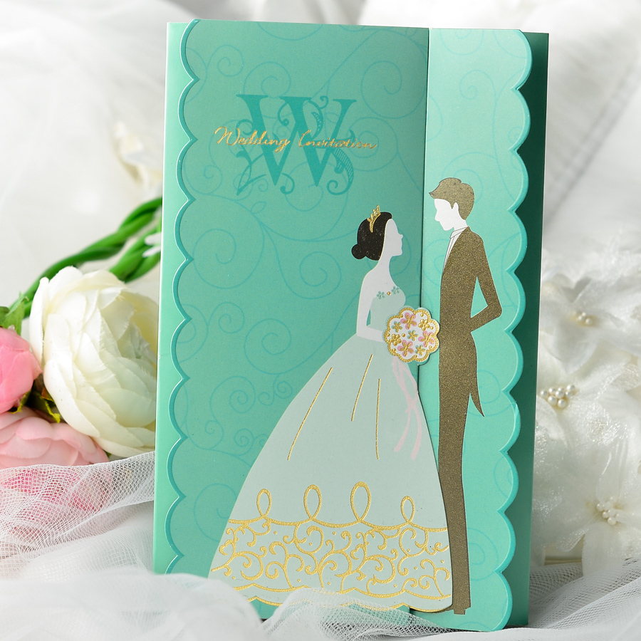 Gorgeous Vintage Creative Design Tiffany Blue Wedding Invitation