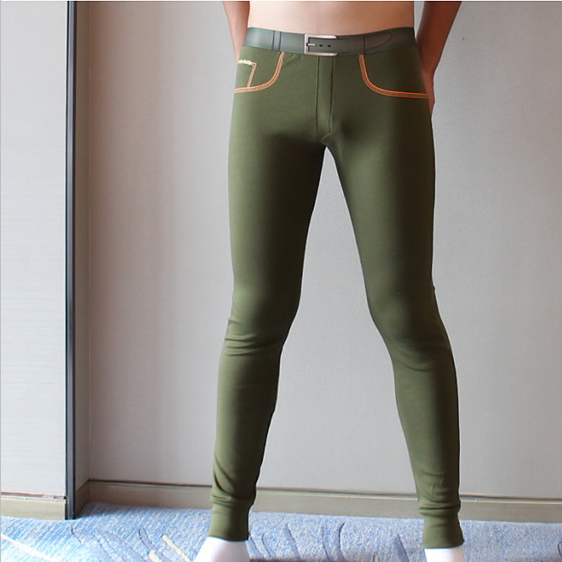 Brand mens long johns Combed cotton men warm pants thin elastic line of   sexy men underwear  tight legging long Johns