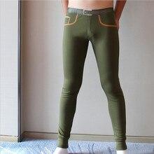 Brand mens long johns Combed cotton men warm pants thin elas
