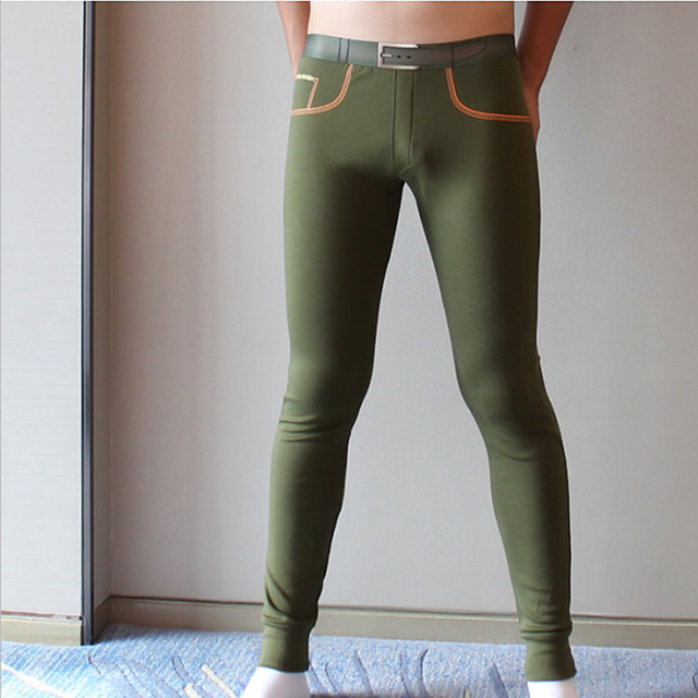 Marca para hombre calzoncillos largos de algodón Peinado hombres pantalones calientes de la línea elástica delgada de ropa interior masculina sexy tight legging Calzoncillos largos