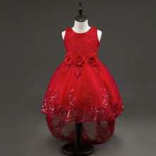 2017 New Wedding Lace Tulle Flower Girl Dress Princess With Big Bow Ball Gown Party Bridesmaid Kids Girls Vestido Trailing dress