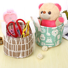 Cute Printing Cotton Linen Desktop Storage Organizer Sundries Storage Box Foldable Stationery Holder Laundry Storage Basket