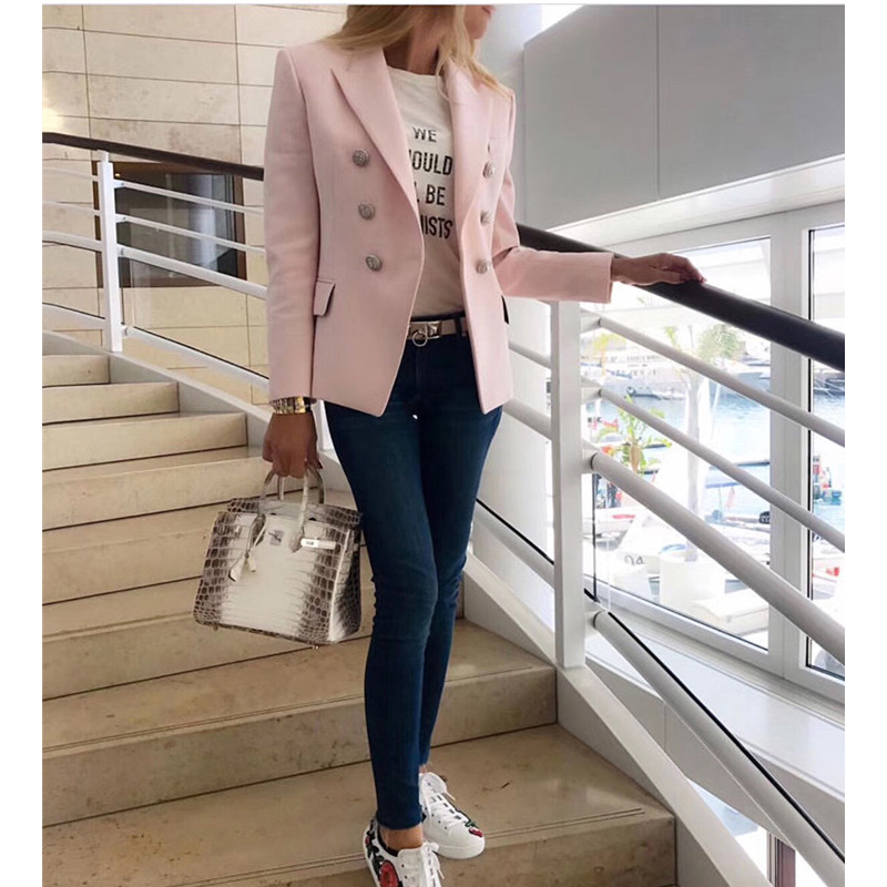 TOP QUALITY Star Stylish Designer Blazer Jacket For Women Silver Lion Buttons Double Breasted Pink Blazer Size S-XXXL