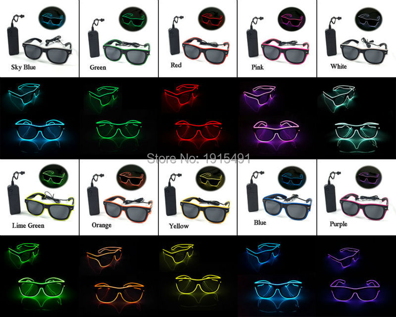 Night Lamp Led Bulbs 20pcs Luminous Trendy Light Up EL Wire Cable Rope Colorful Sunglasses with Dark Lens for DJ Disco Concert high grade luminous neon led bulbs stage lamp el wire cable rope arrow mask cartoon shape glowing led light up cute mask