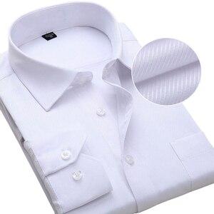 Image 2 - Chemise à manches longues pour hommes, blanche et formelle, cintrée, rayures solides, grande taille