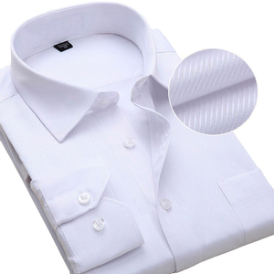 Image 2 - Plus Size Men Dress Shirts Long Sleeve Slim Fit Solid Striped Business Formal White Man Shirt Male Social Big Size Clothing