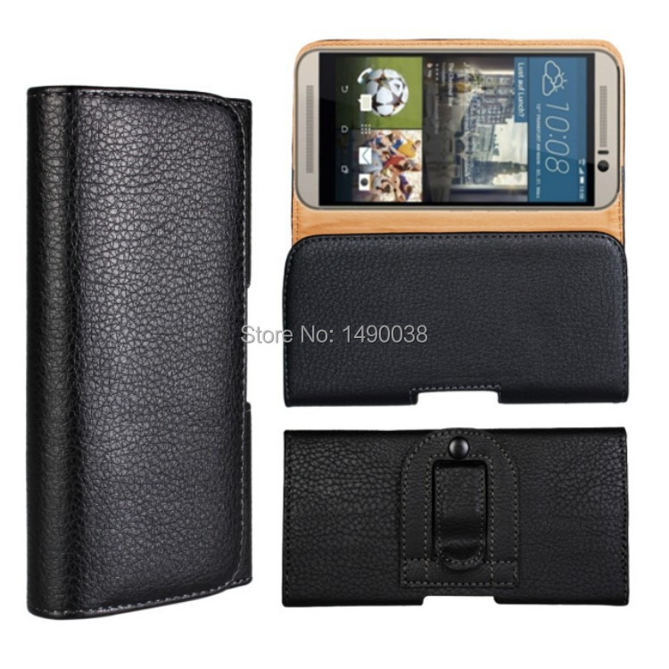 Newest Waist Case Holster PU Leather Belt Clip Pouch Cover Case For HTC One M9 Mobile Phone Bag Free