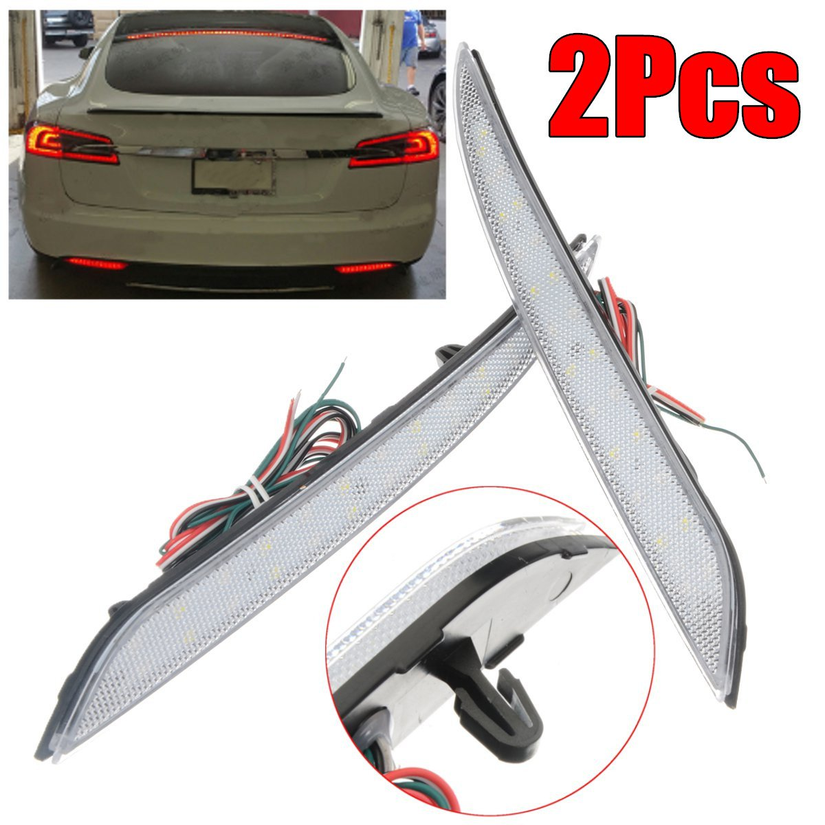 2Pcs Car Rear Fog Lamp LED Rear Bumper Brake Light For TESLA Model S 2012