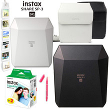 Fujifilm Instax Share SP-3 Mobile Printer Instant SQ Printers Black/White + 20 Sheets Instax Square Film + Case Bag + Wall Album(Hong Kong,China)