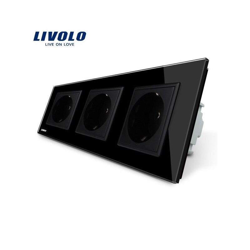 Livolo ЕС Стандартный гнездо, Черный Кристалл закаленное Стекло Outlet Панель, тройной стеной Мощность розетки без вилки, vl-c7c3eu-12