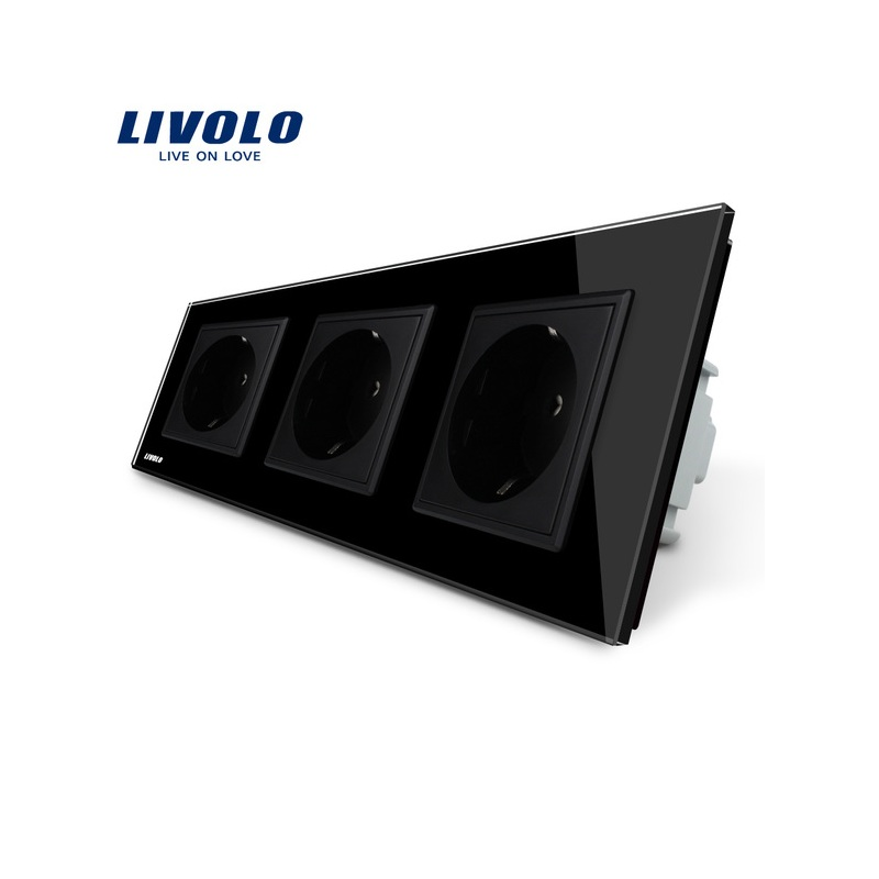 Livolo EU Standard Socket, Black Crystal Toughened Glass Outlet Panel, Triple Wall Power Sockets Without Plug,VL-C7C3EU-12 atlantic brand double tel socket luxury wall telephone outlet acrylic crystal mirror panel electrical jack