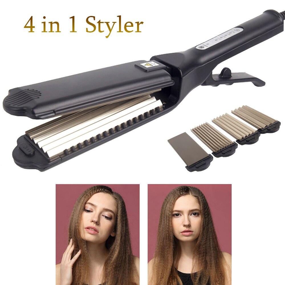 Fer à lisser professionnel 4 en 1 plaques larges fer à lisser kératine outil de coiffage fer à cheveux volumisant titane