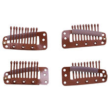 200 PCS 3.8cm 10 Teeth Hair Extension Clips Snap Metal Clips With Silicone Back For Clip in Human Hair Extensions Wig Comb(China)