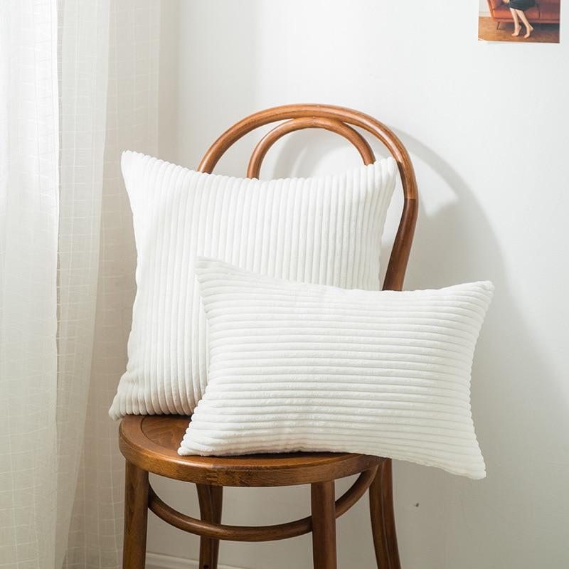 Nordic Decorative Pillows Super-Soft Cushion Cover Home Decor Striped Velvet Corduroy Decoration Pillow For Bed Sofa 45cm 50cm