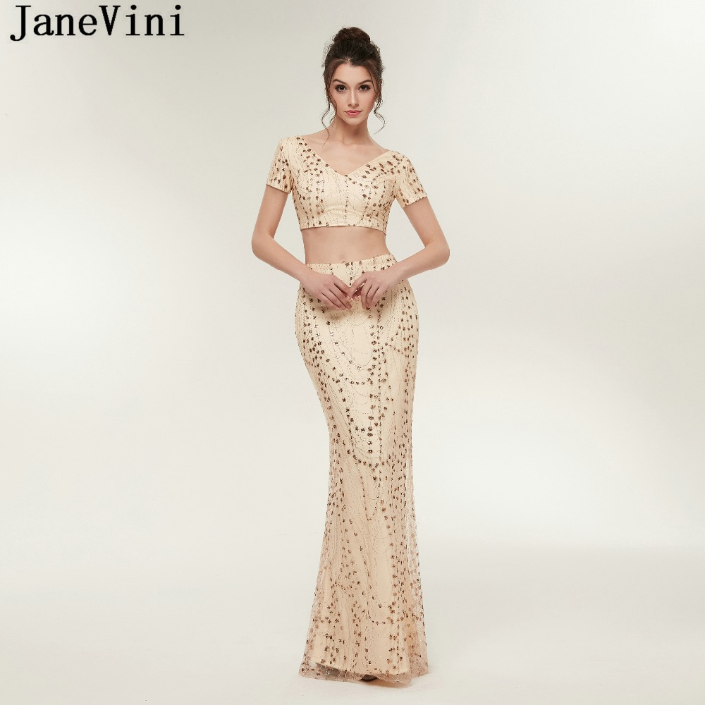 1302a0034d42 JaneVini Champagne Gold Two Piece Bridesmaid Dresses V Neck Sequined Short  Sleeve Floor Length African Mermaid Formal Prom Gowns-in Bridesmaid Dresses  from ...