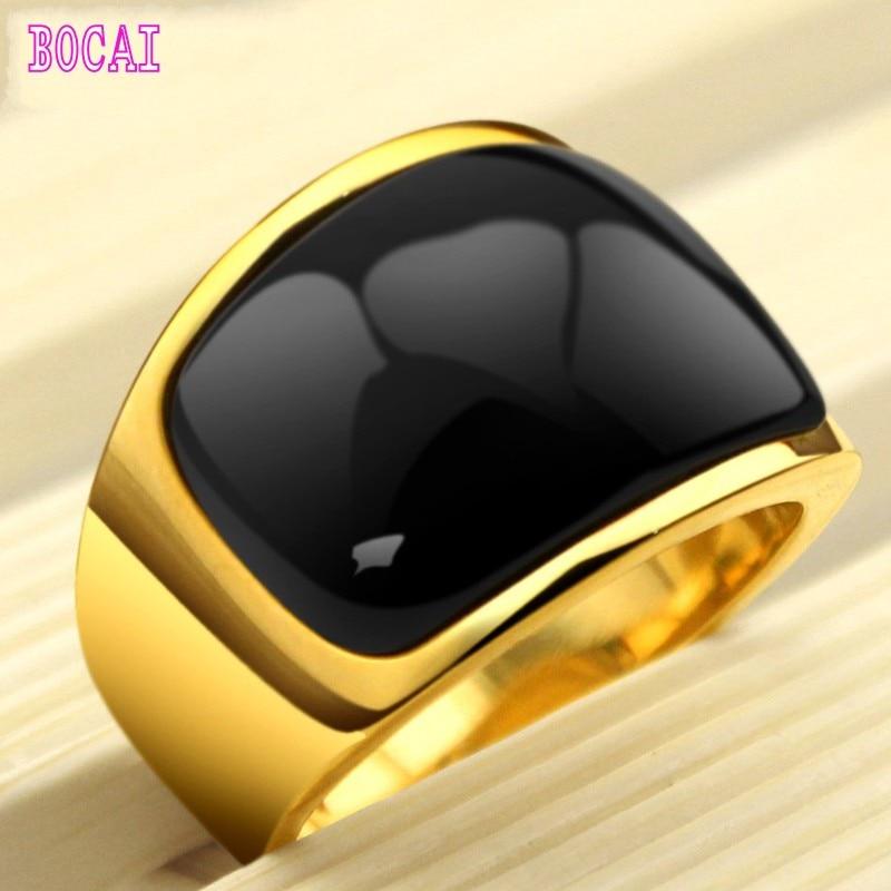 Bague clair de lune hommes mode coréenne métrosexuel noir bijoux titane bague en or dominateur