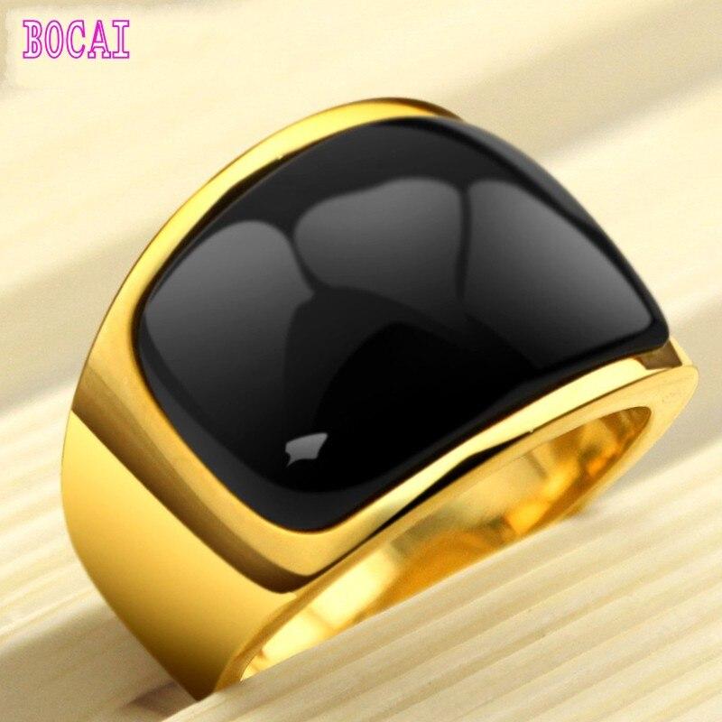 Clair de lune bague en argent hommes mode coréenne métrosexuel noir bijoux titane bague en or dominateur