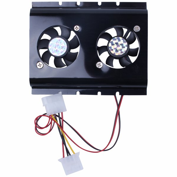 Black 3.5 SATA IDE Hard Disk Drive HDD 2 Fan Cooler For PC