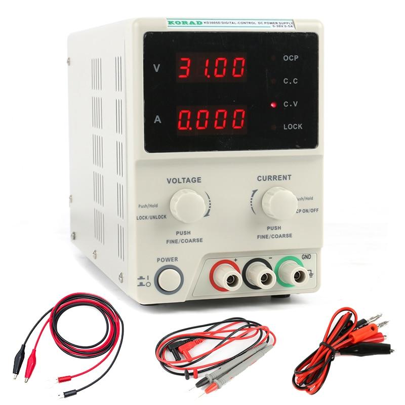 KORAD KD3005D High Precision Laboratory Digital Adjustable Linear DC Power Supply 30V 5A 0.01V 0.001A Digital Regulated laboratory power supply korad kd3005d 30v 5a 0 01v 0 001a linear dc power supply for laptop phone maintenance
