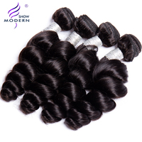 Modern Show Hair Malaysian Loose Wave Remy Hair 100% Human Hair Weave Bundles Natural Color Free Shipping Can buy 3 or 4 bundles