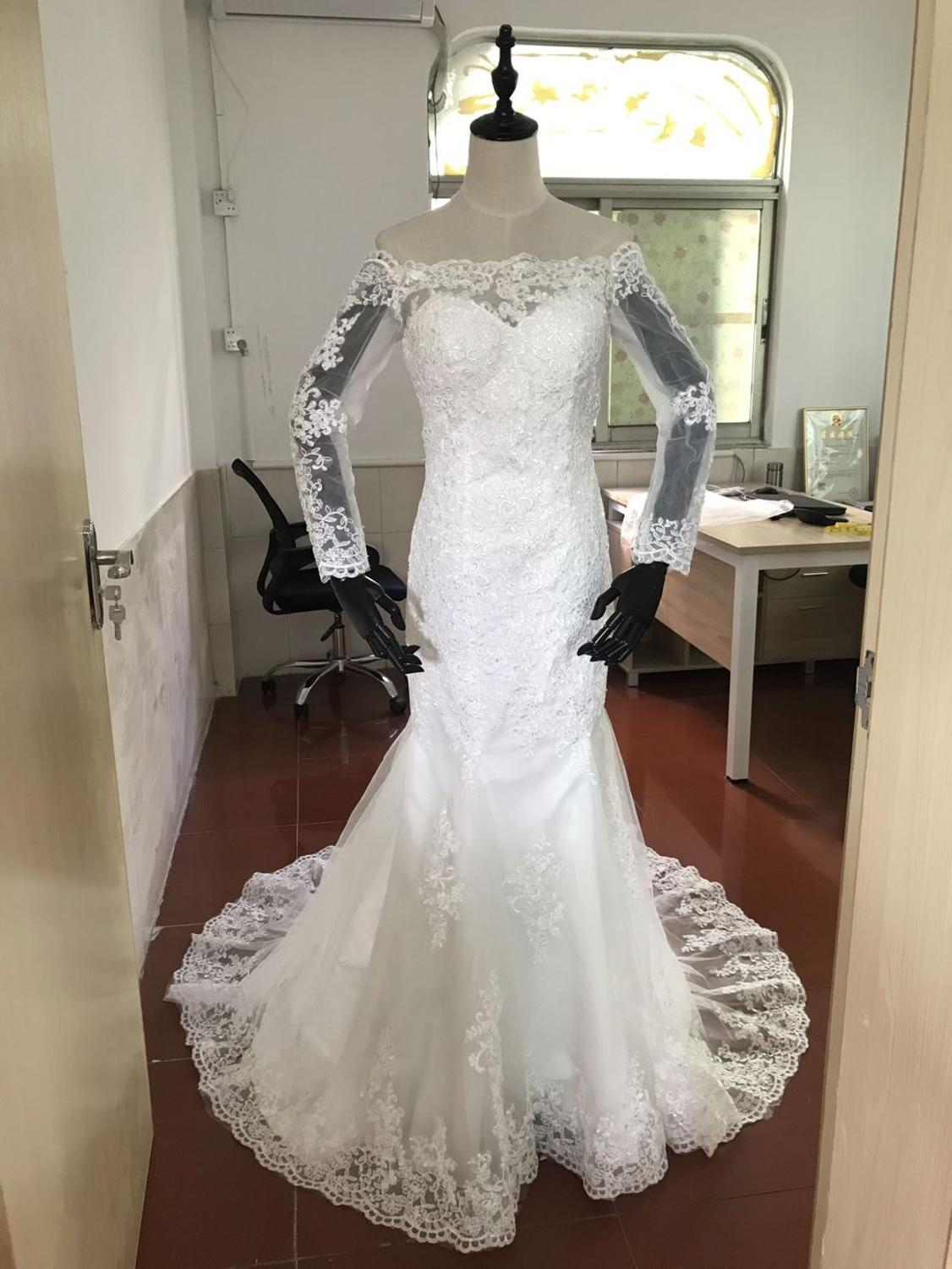 Wedding Dress Vestidos De Noiva long sleeve real pictures Wedding Party dress 20190714