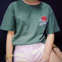 Tee Top New Fashion Army Green Embroidered Flower Rose Halajaku Casual Short Sleeve Female