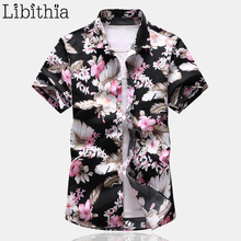 Men's Casual Shirts Floral Pattern Large Size M-7XL Short Sleeve Men Social Shirt Clothes Male A29