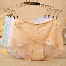 big size high-rise lace sexy mesh women panties plump famale underwear fashion cotton briefs