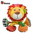Vibrado Sozzy Bebê Animal de Pelúcia Leão de Brinquedo Chocalho Som Dobra 18 cm Brinquedo Macio Recheado Multicolor Multifunções