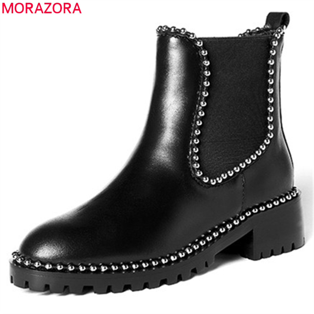 MORAZORA 2018 black fashion women boots autumn genuine leather ladies boots square heel round toe cow leather ankle boots ladies casual lace up flat ankle boots fashion round toe plain cow leather boots for women female genuine leather autumn boots