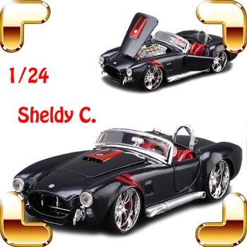 Año nuevo regalo 1965 Shelby C 1/24 modelo de Metal deportes Roadster historia del coche estilo clásico colección de vehículos coches de juguete de aleación