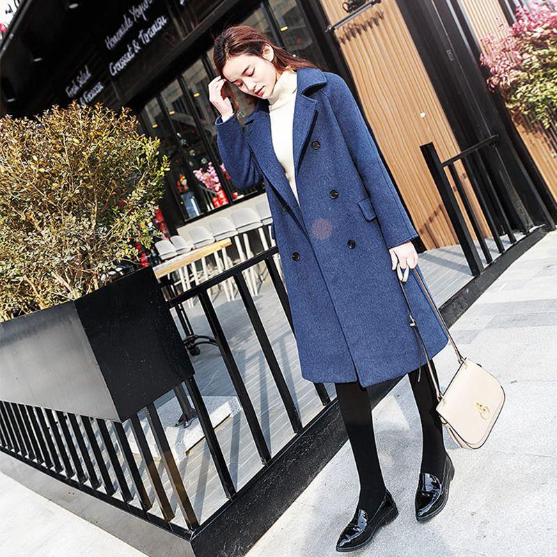 2018 Nouveau Lâche Taille Femmes Ladies708 Veste Laine Mélanges Mode Color Style Manteau Casual Grande Femme longue Picture Mi D'hiver De OnOqxrX