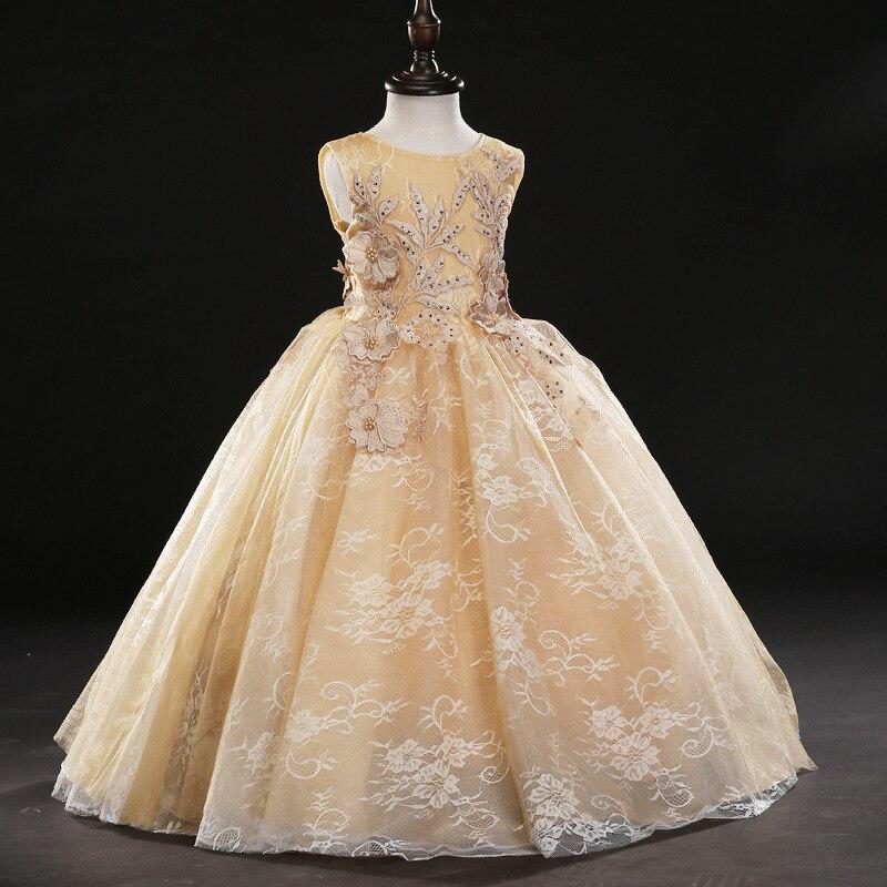D-082 Children's princess dress girl children's wedding lotus Dress Children's Piano costumes winter and autumn Dress стоимость