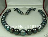 Wholesale Free Shipping 9 10mm Black Tahitian Cultured Pearl Necklace 18 AAA