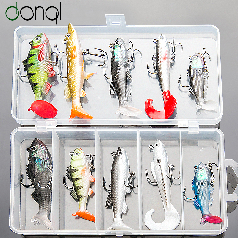 DONQL Soft Fishing Lure Kit High Quality Bait Set 15g 13g 10g 9g 8g Artificial Silicone Bass Baits With Treble Hooks Box Fishing