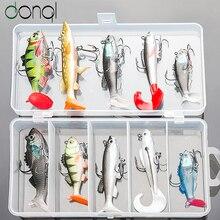 DONQL Soft Fishing Lure Kit High Quality Bait Set 15g 13g 10g 9g 8g Artificial Silicone Bass Baits With Treble Hooks Box Fishing