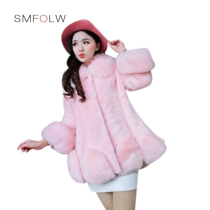 SMFOLW 2018 New Fashion Women Faux Fur Coat Jacket Winter Warm Fox Fur & Rex Rabbit Hair Spliced Female Long Fur Coat ruffle neckline and cuff blouse