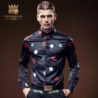 FANZHUAN 2017 New Arrival Luksusowej Marki Męskie Koszule Z Długimi Rękawami Floral Mężczyźni Koszula Projektant Koszule Plus Size 5X